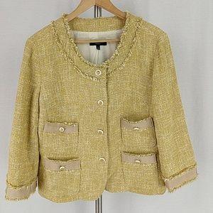 Talbots Gold Yellow Fringe jacket Blazer 3/4 sleev